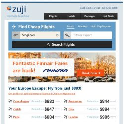 [Zuji] Back by popular demand: Fantastic Finnair Fares! Europe from just $883.
