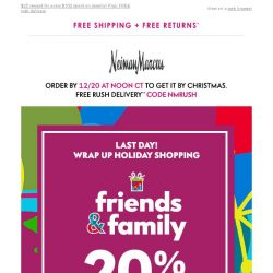 [Neiman Marcus] Final day! 20% off for Friends & Family + jewelry rewards