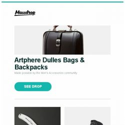 [Massdrop] Artphere Dulles Bags & Backpacks, Kershaw 1730SS Zing Stainless Steel Folding Knife, Hanwag Banks II GTX Boots and more...