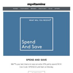 [MyVitamins] Last Chance   Save Up To 60% Plus An Extra 20%