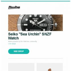 "[Massdrop] Seiko ""Sea Urchin"" SNZF Watch, Kizer Ki4456A2 River Cat Frame Lock Knife, Victorinox Swiss Army Knives: Picnic Wine Master and more..."