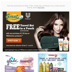 [Giant] 🙌 Too good to miss! FREE 👝 Travel Set Pouch from TRESemme, FREE 🚚 Delivery…and more!