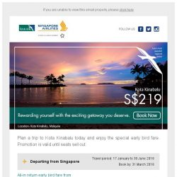 [Singapore Airlines] Reward yourself with a trip to Kota Kinabalu from just SGD219.