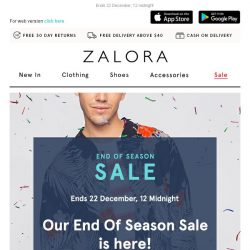 [Zalora] Our End of Season SALE is here! Extra 18% off your first order!