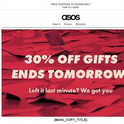 [ASOS] 30% off gifts ends tomorrow!