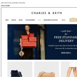 [Charles & Keith] LAST DAY – Enjoy Free Standard Delivery