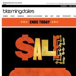 [Bloomingdales] Take 15% off--ends today!