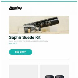 [Massdrop] Saphir Suede Kit, Spyderco Para Military 2: G-10 / S110V, Zippo Hand Warmer (2-Pack) and more...