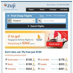 [Zuji] ✌ 2 to go Tuesday! Singapore Airlines to Hong Kong fr just $242.