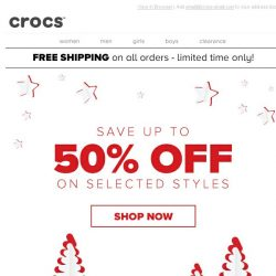[Crocs Singapore] Hurry up! Everything up to 50% off & Free Shipping!