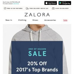 [Zalora] Top this: EXTRA 20% off best-selling brands!
