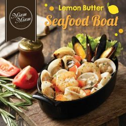 "[Miam Miam French.Japanese Cafe.Kitchen] Lemon Butter Seafood Boat ""A taste of the ocean!"