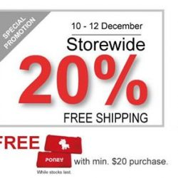 [PONEY enfants] Storewide 20% + FREE SHIPPING from 10-12 Dec 2017 only.