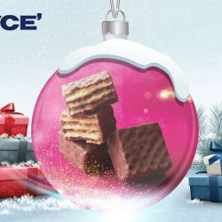 [Royce'] Little chocolate-coated cubes with delicious cream sandwiched between four layers of crispy wafers.