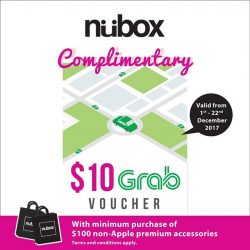 [Nübox] Purchase minimum $100 worth of non-Apple premium accessories in a single receipt and receive complimentary $10 grab voucher!
