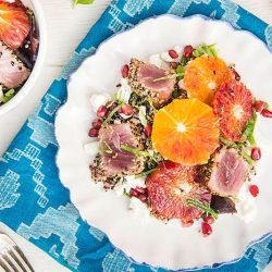 [THE SEAFOOD MARKET PLACE BY SONG FISH] Blood Orange and Seared Tuna Quinoa SaladTuna is often seen in canned form or on sushi.
