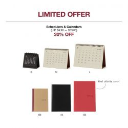 [MUJI Singapore] Delight in our Limited Offer this weekend with 2018 Schedulers at 30% OFF!