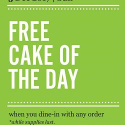 [Marché Mövenpick Singapore] Day 3 of surprise - 03 December 2017: FREE* cake of the day when you dine-in with any order*T&