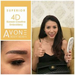 [AVONE BEAUTY SECRETS] Glamour girl Faith Chia had her brows redefined; skilfully crafted by our Embroidery Specialist Mgr Ivy Niu from Northpoint City (