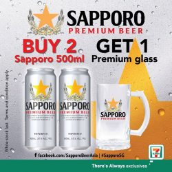 [7-Eleven Singapore] Get a Sapporo beer glass for free when you purchase 2 500ml cans of Sapporo premium beer from 7-Eleven!
