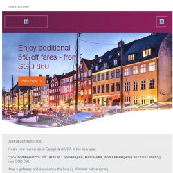 [Qatar] Additional 5% off fares to Copenhagen and more. Fares starting from SGD 860.