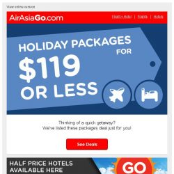 [AirAsiaGo] 🌟 Vacation Packages for under SGD119! 🌟