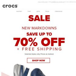 [Crocs Singapore] Save up to 70% off & Free Shipping! Act fast!