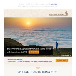 [Singapore Airlines] Step into the great outdoors of Hong Kong from SGD248
