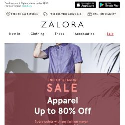 [Zalora] Up to 80% off: Get yourself something nice