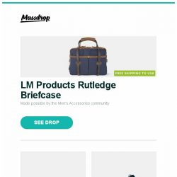 [Massdrop] LM Products Rutledge Briefcase, Cold Steel Code 4 Knife, Green Traveler Multi-Use Container and more...