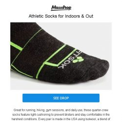 [Massdrop] Fitsok ISW Isolwool Socks: Cool, Comfy & American-Made for $17.99 (3-Pack)