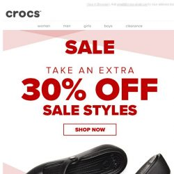 [Crocs Singapore] Let the savings continue. Now take an extra 30% OFF!