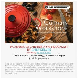 [LeCreuset] Le Creuset Singapore - Culinary Workshop with My Turn to Host (21 Jan, Sat)