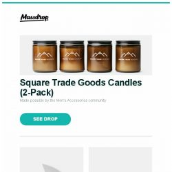 [Massdrop] Square Trade Goods Candles (2-Pack), Spyderco Lil Lum Nishijin Folding Knife, Vibram FiveFingers V-Train Shoes and more...
