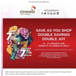 [Changi Airport] FLASH SALE: Save up to 2XGST at Changi Airport from 12 ? 21 Jan!