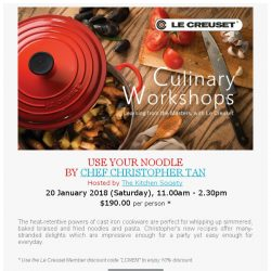 [LeCreuset] Le Creuset Singapore - Culinary Workshop with The Kitchen Society (20 Jan, Sat)