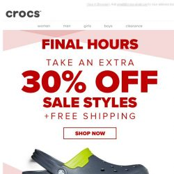 [Crocs Singapore] Final Hours! Now take an EXTRA 30% off & Free Shipping!
