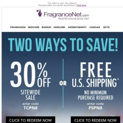 [FragranceNet] 30% OFF. FREE Shipping. Ends Tonight.
