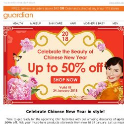 [Guardian] 🔴 Get ready to celebrate Chinese New Year with beauty selection up to 50% off!