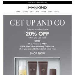 [Mankind] Get Up And Go | Save 20% Inside + Free Gift