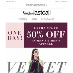 [Last Call] Velvet everywhere you look + 40%–50% off