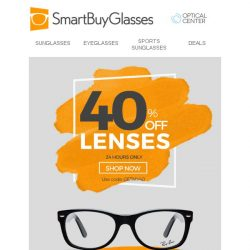 [SmartBuyGlasses] Exclusive 40% OFF lenses - fresh glasses for the new year?