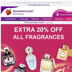 [StrawberryNet] , Extra 20% Off ALL Fragrances Starts Now. Don't Miss It!