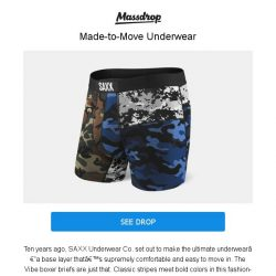 [Massdrop] SAXX Vibe Boxer Briefs: Breathable Fabric & Snug Fit for $34.99 Per 2-Pack