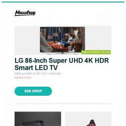 """[Massdrop] LG 86-Inch Super UHD 4K HDR Smart LED TV, WOLF """"Windsor"""" Watch Box, AKRacing Overture Series Gaming Chairs and more..."""