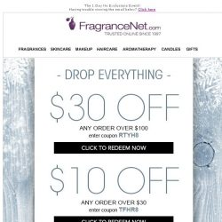 [FragranceNet] Drop. Everything. Your $30 Coupon Expires Tonight!