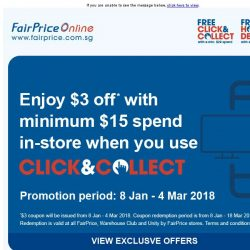 [Fairprice] Exclusive: $3 off your in-store purchase when you choose our Click&Collect service!