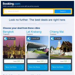 [Booking.com] Bangkok, Lat Krabang, or Chiang Mai? Get great deals, wherever you want to go