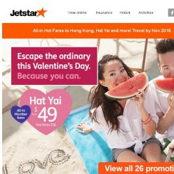 [Jetstar] 💕 Escape the ordinary this Valentine's day! All-in hot fares to 26 destinations.