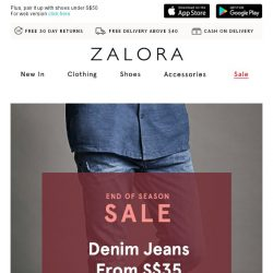 [Zalora] Keep it cool: Denim jeans from S$35